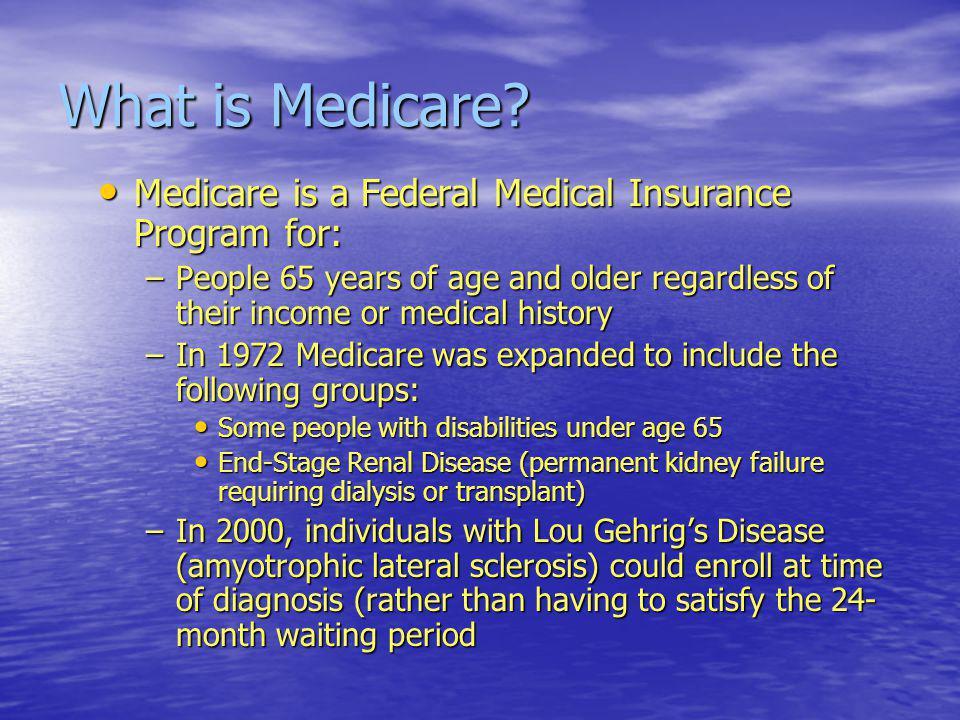 Medicare Coverage Part A Part A –Hospital Coverage Part B Part B –Medical Coverage Part C Part C –Medicare Advantage Program Part D Part D –Out-Patient Prescription Drug Coverage – established in 2006