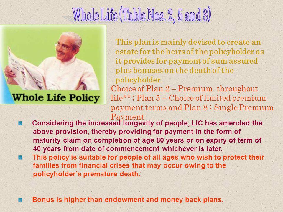 WHOLE - LIFE PLAN WHOLE LIFE PLAN - WITH PROFIT JEEVAN TARANG - WITH PROFIT