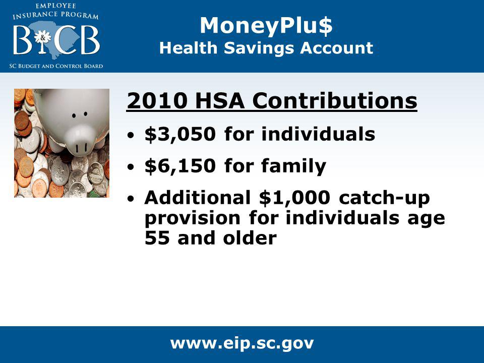 MoneyPlu$ Health Savings Account 2010 HSA Contributions $3,050 for individuals $6,150 for family Additional $1,000 catch-up provision for individuals