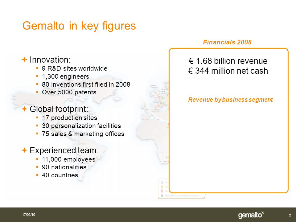 2 Financials 2008 Innovation: 9 R&D sites worldwide 1,300 engineers 80 inventions first filed in 2008 Over 5000 patents Global footprint: 17 production sites 30 personalization facilities 75 sales & marketing offices Experienced team: 11,000 employees 90 nationalities 40 countries 1.68 billion revenue 344 million net cash Revenue by business segment Gemalto in key figures 17/02/10