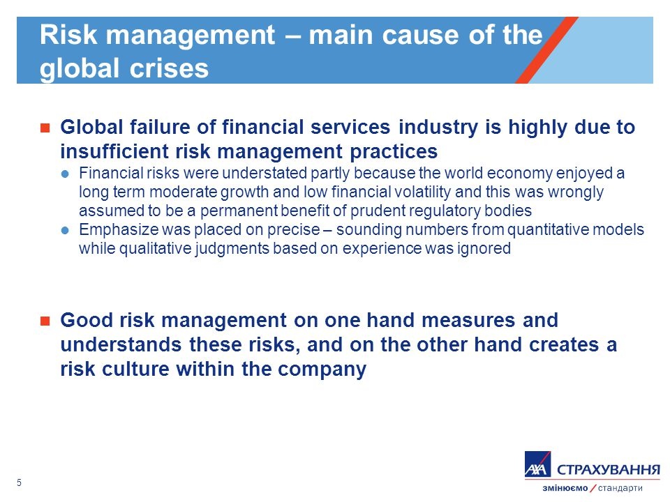 5 Risk management – main cause of the global crises Global failure of financial services industry is highly due to insufficient risk management practices Financial risks were understated partly because the world economy enjoyed a long term moderate growth and low financial volatility and this was wrongly assumed to be a permanent benefit of prudent regulatory bodies Emphasize was placed on precise – sounding numbers from quantitative models while qualitative judgments based on experience was ignored Good risk management on one hand measures and understands these risks, and on the other hand creates a risk culture within the company