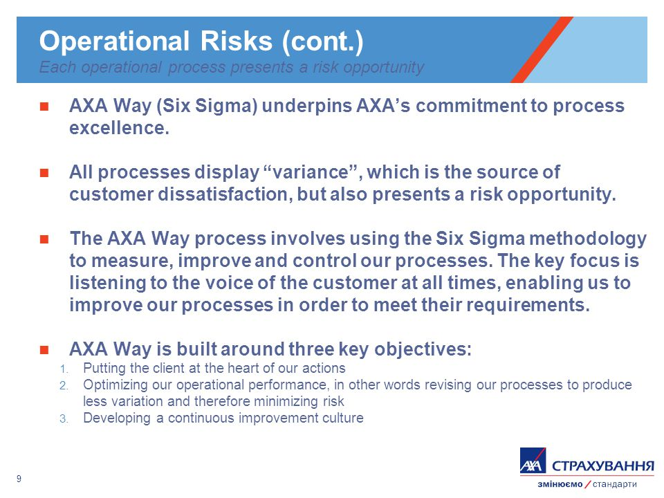9 AXA Way (Six Sigma) underpins AXAs commitment to process excellence.