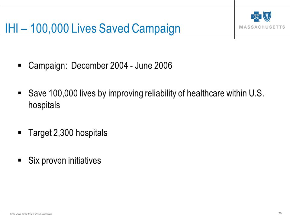 36 Blue Cross Blue Shield of Massachusetts IHI – 100,000 Lives Saved Campaign Campaign: December 2004 - June 2006 Save 100,000 lives by improving reli