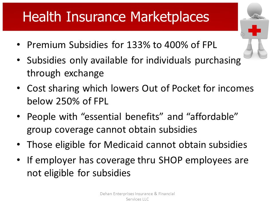 Health Insurance Marketplaces Premium Subsidies for 133% to 400% of FPL Subsidies only available for individuals purchasing through exchange Cost shar