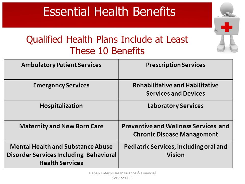 Essential Health Benefits Qualified Health Plans Include at Least These 10 Benefits Ambulatory Patient ServicesPrescription Services Emergency Service