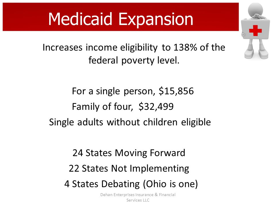 Medicaid Expansion Increases income eligibility to 138% of the federal poverty level. For a single person, $15,856 Family of four, $32,499 Single adul