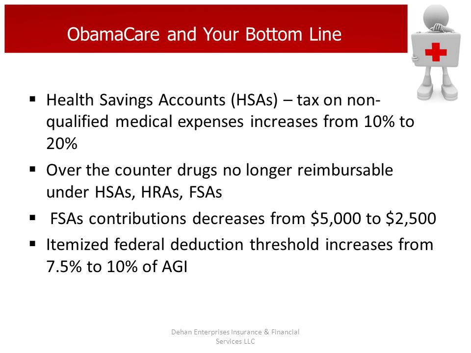 ObamaCare and Your Bottom Line Health Savings Accounts (HSAs) – tax on non- qualified medical expenses increases from 10% to 20% Over the counter drug