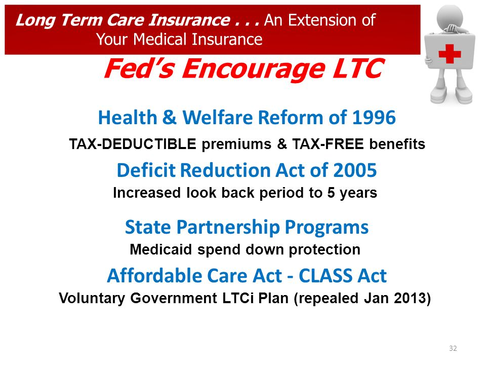 32 Long Term Care Insurance... An Extension of Your Medical Insurance Feds Encourage LTC Health & Welfare Reform of 1996 Deficit Reduction Act of 2005