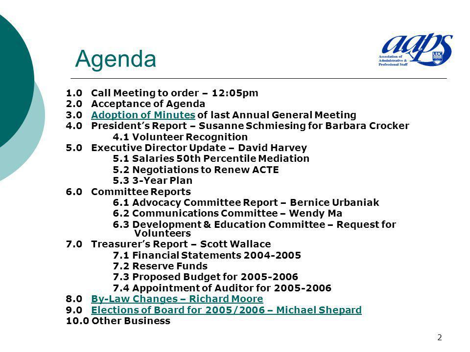 2 Agenda 1.0 Call Meeting to order – 12:05pm 2.0 Acceptance of Agenda 3.0 Adoption of Minutes of last Annual General MeetingAdoption of Minutes 4.0 Pr