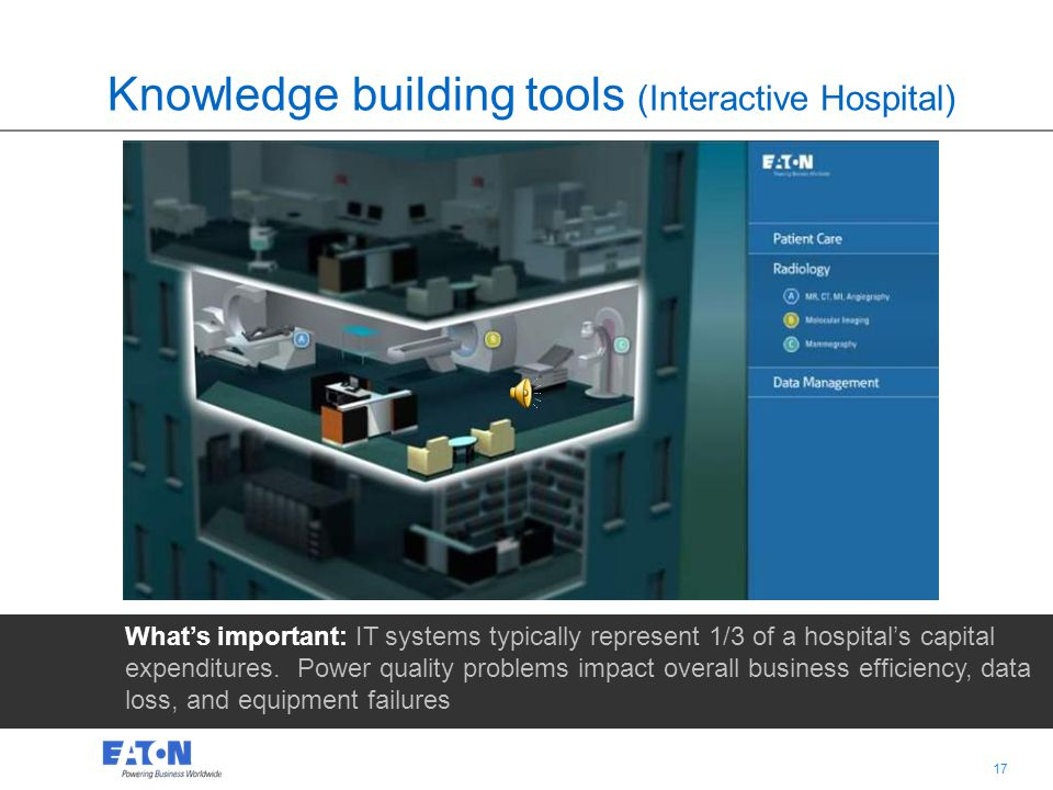 16 Knowledge building tools (Interactive Hospital) Whats important: IT systems typically represent 1/3 of a hospitals capital expenditures. Power qual