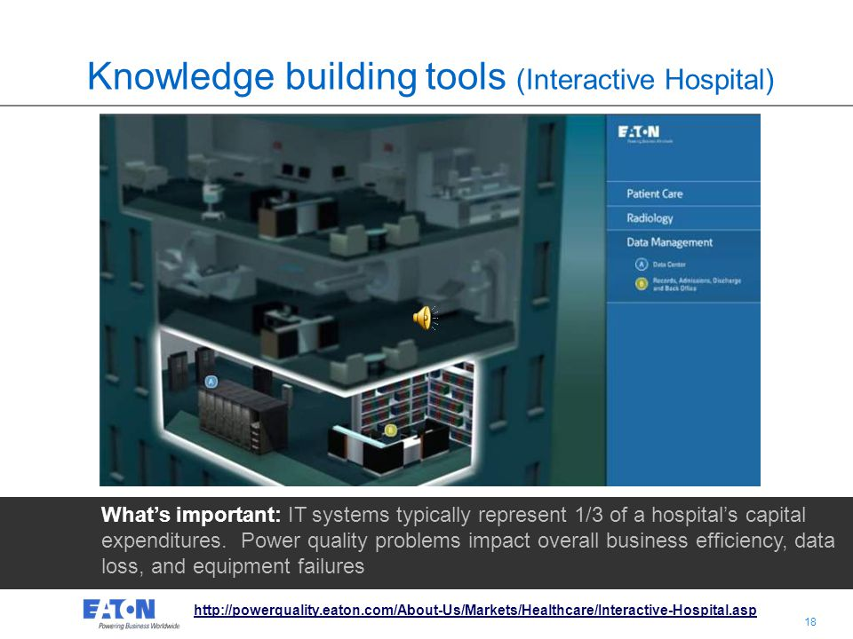 17 Knowledge building tools (Interactive Hospital) Whats important: IT systems typically represent 1/3 of a hospitals capital expenditures.