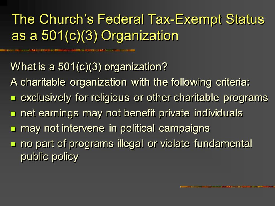 What is a 501(c)(3) organization? A charitable organization with the following criteria: exclusively for religious or other charitable programs net ea