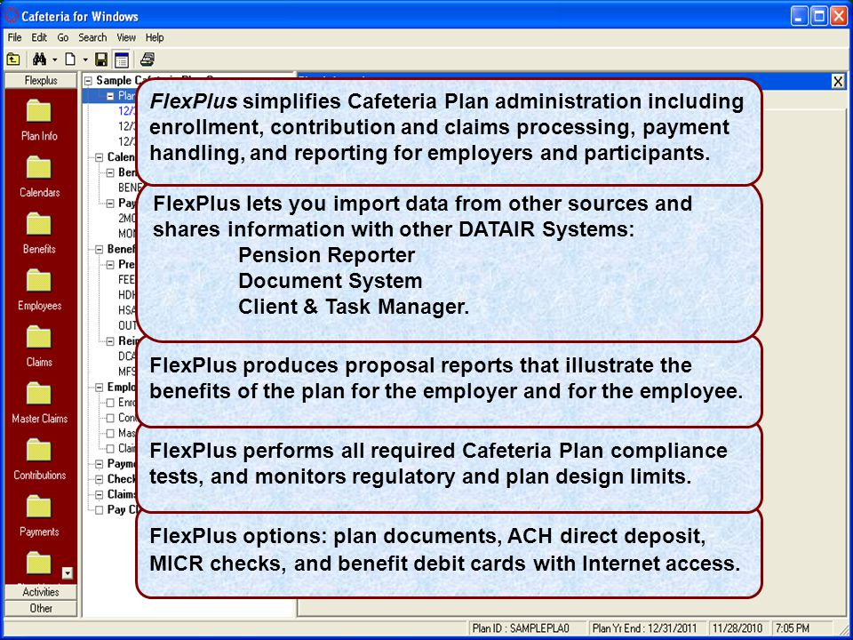 FlexPlus options: plan documents, ACH direct deposit, MICR checks, and benefit debit cards with Internet access.