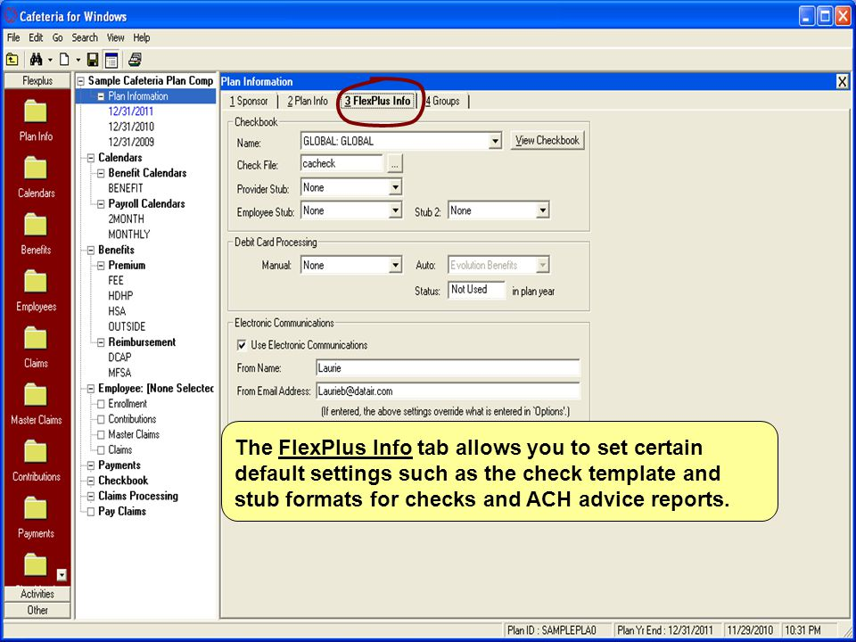 The FlexPlus Info tab allows you to set certain default settings such as the check template and stub formats for checks and ACH advice reports.