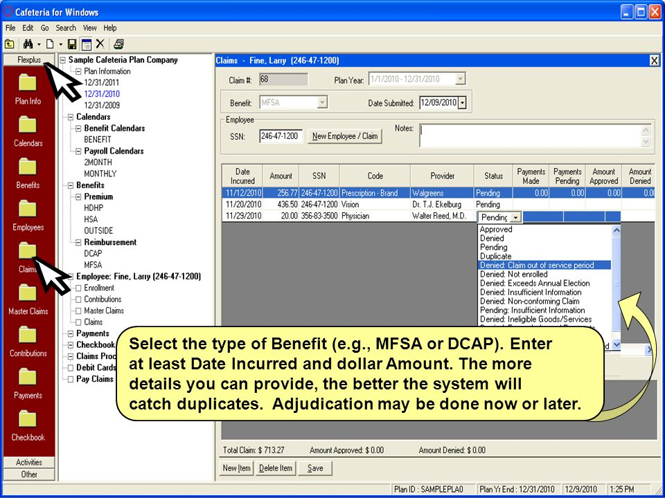 Select the type of Benefit (e.g., MFSA or DCAP). Enter at least Date Incurred and dollar Amount.