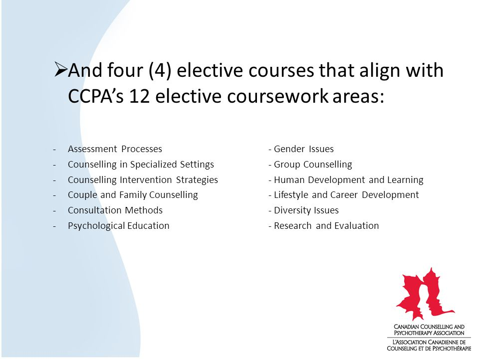 And four (4) elective courses that align with CCPAs 12 elective coursework areas: -Assessment Processes - Gender Issues -Counselling in Specialized Settings- Group Counselling -Counselling Intervention Strategies- Human Development and Learning -Couple and Family Counselling- Lifestyle and Career Development -Consultation Methods- Diversity Issues -Psychological Education - Research and Evaluation