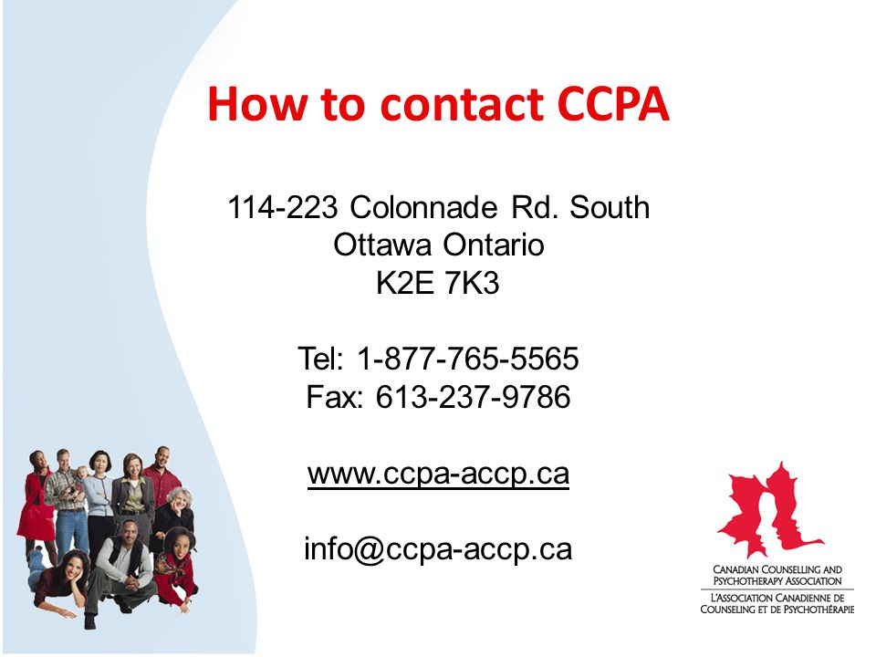 How to contact CCPA 114-223 Colonnade Rd.