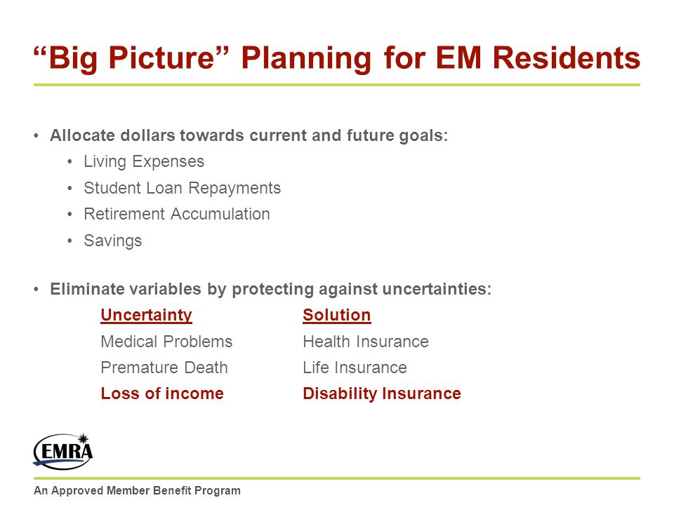 An Approved Member Benefit Program Big Picture Planning for EM Residents Allocate dollars towards current and future goals: Living Expenses Student Lo