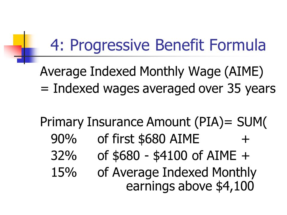 4: Progressive Benefit Formula Average Indexed Monthly Wage (AIME) = Indexed wages averaged over 35 years Primary Insurance Amount (PIA)= SUM( 90% of first $680 AIME+ 32% of $680 - $4100 of AIME+ 15% of Average Indexed Monthly earnings above $4,100