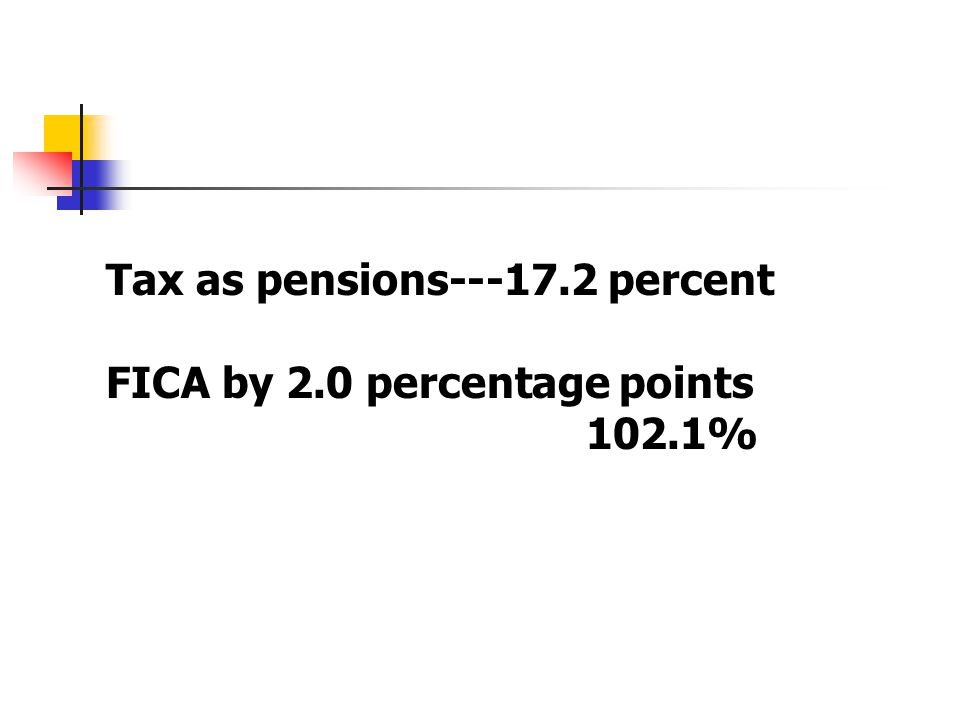 Tax as pensions---17.2 percent FICA by 2.0 percentage points 102.1%