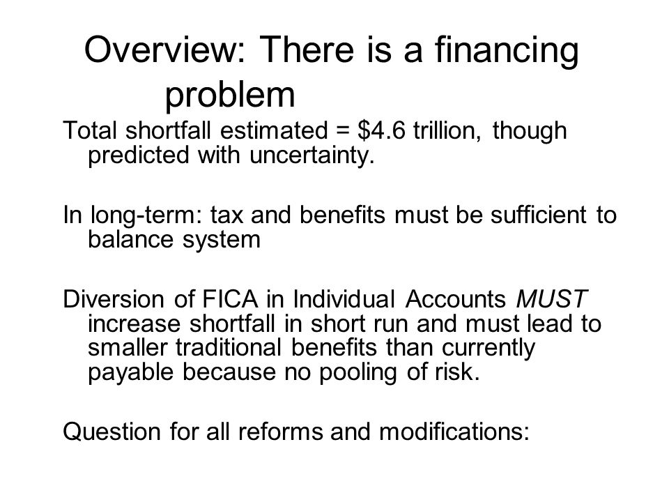 Overview: There is a financing problem Total shortfall estimated = $4.6 trillion, though predicted with uncertainty.