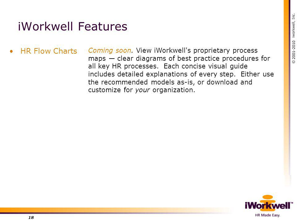 iWorkwell Features HR Flow Charts 18 Coming soon.