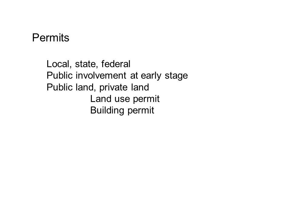 Permits Local, state, federal Public involvement at early stage Public land, private land Land use permit Building permit