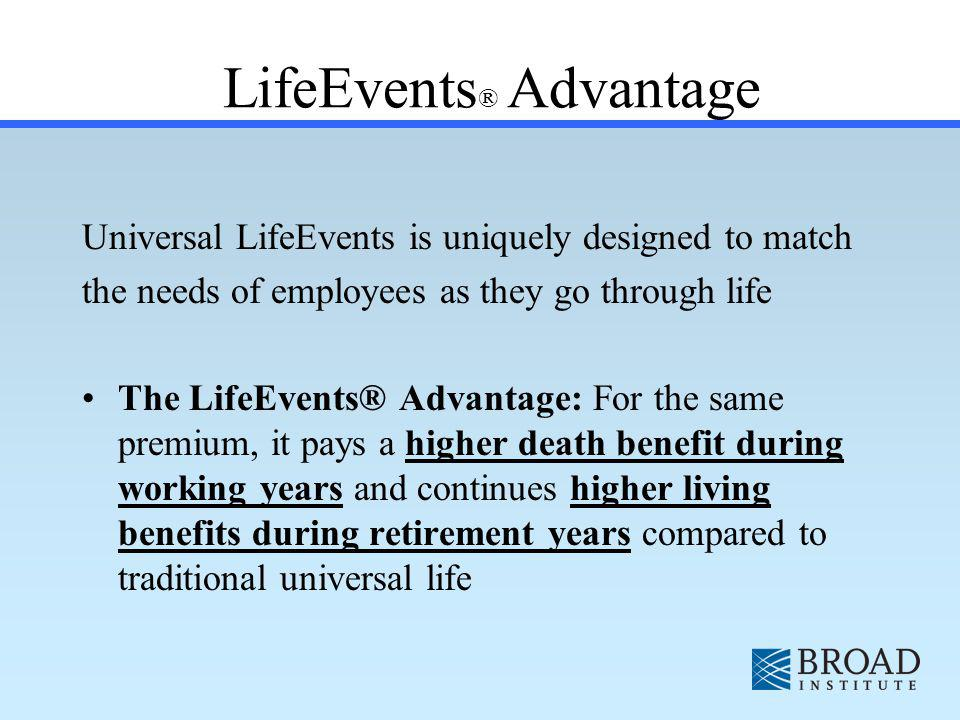 LifeEvents ® Advantage Universal LifeEvents is uniquely designed to match the needs of employees as they go through life The LifeEvents® Advantage: For the same premium, it pays a higher death benefit during working years and continues higher living benefits during retirement years compared to traditional universal life