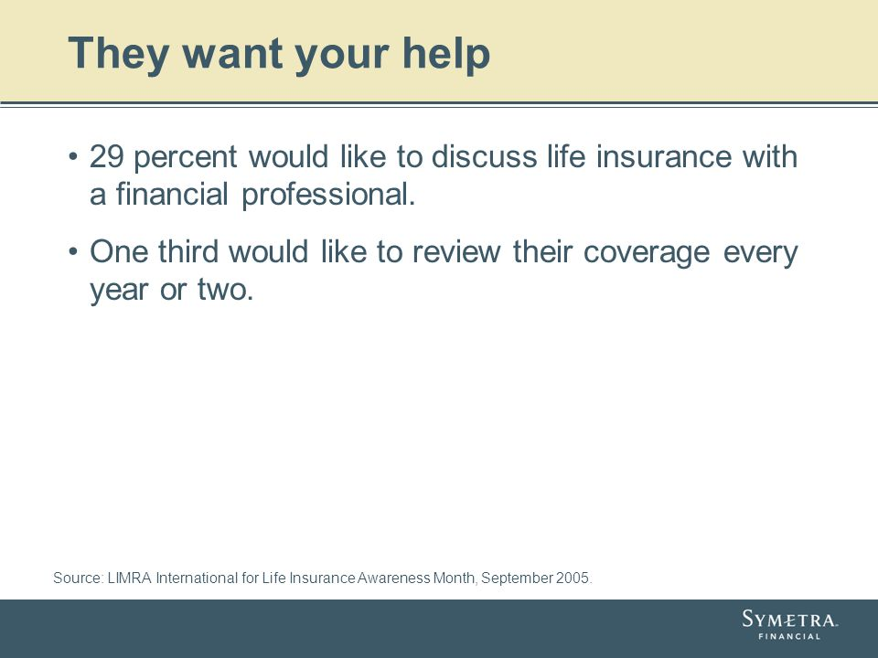 They want your help 29 percent would like to discuss life insurance with a financial professional. One third would like to review their coverage every