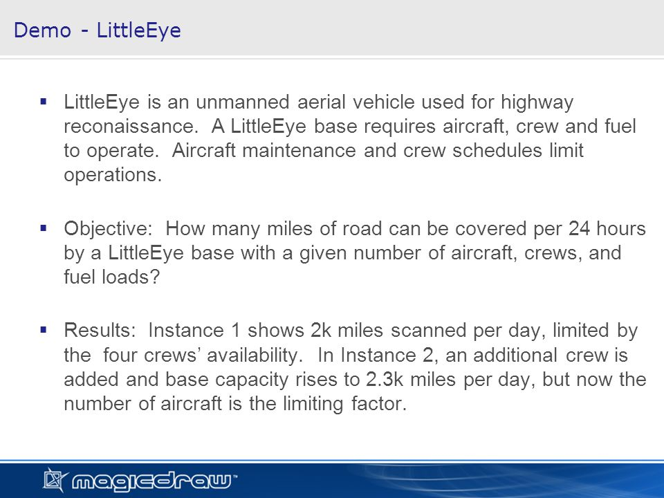 LittleEye is an unmanned aerial vehicle used for highway reconaissance.