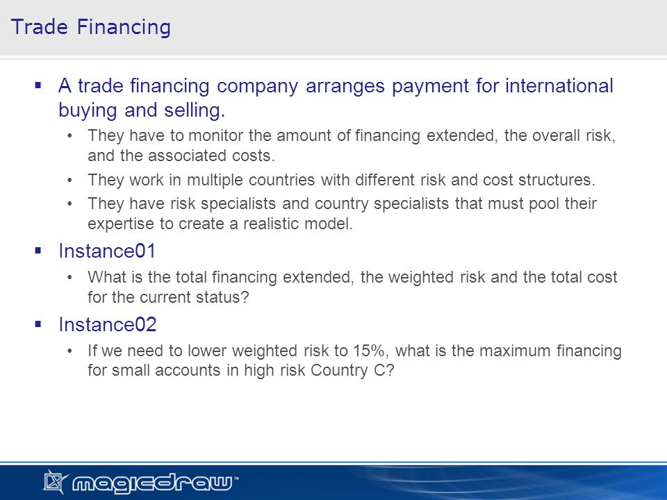 Trade Financing A trade financing company arranges payment for international buying and selling.
