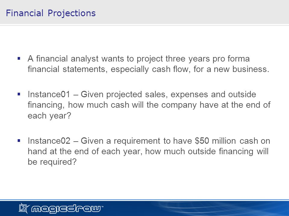 Financial Projections A financial analyst wants to project three years pro forma financial statements, especially cash flow, for a new business.