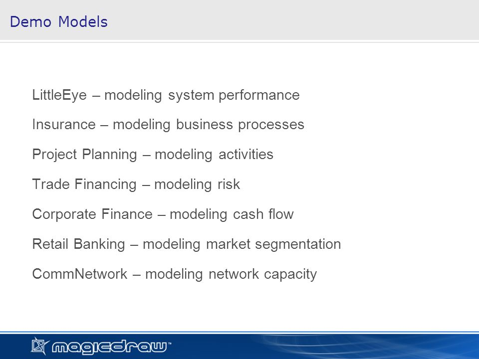Demo Models LittleEye – modeling system performance Insurance – modeling business processes Project Planning – modeling activities Trade Financing – modeling risk Corporate Finance – modeling cash flow Retail Banking – modeling market segmentation CommNetwork – modeling network capacity