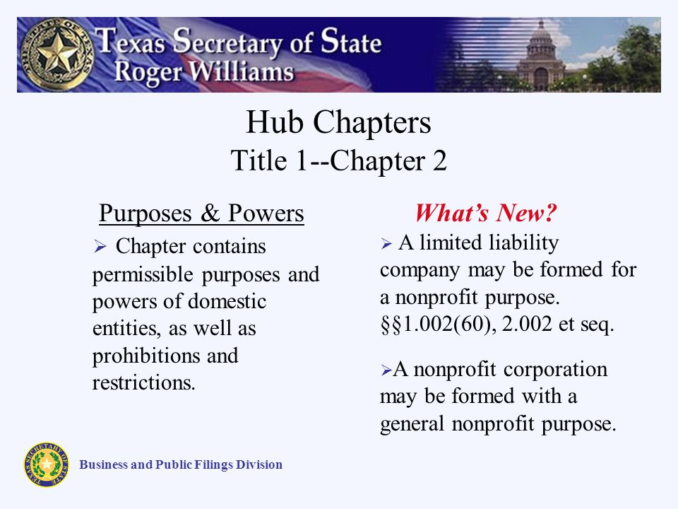 Hub Chapters Title 1--Chapter 2 Business and Public Filings Division Purposes & Powers Chapter contains permissible purposes and powers of domestic entities, as well as prohibitions and restrictions.