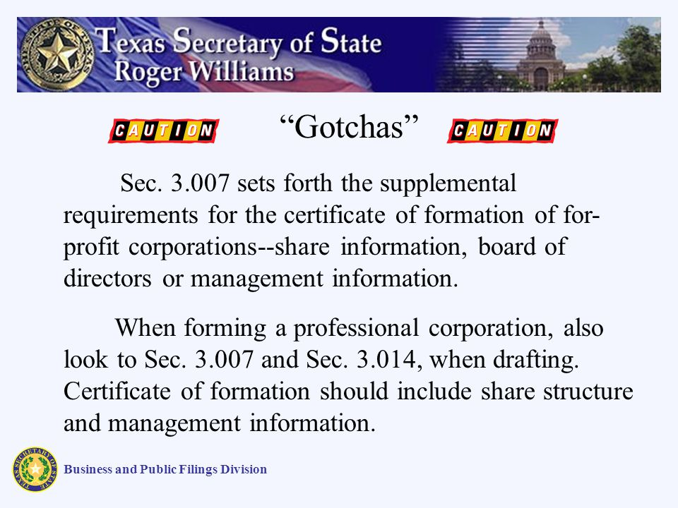 Business and Public Filings Division Gotchas Sec.