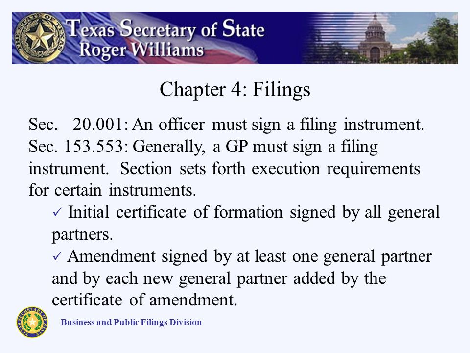 Chapter 4: Filings Business and Public Filings Division Sec.