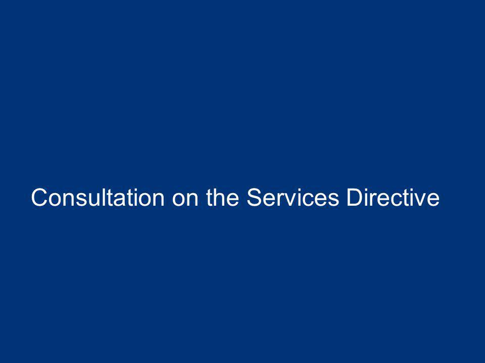 Consultation on the Services Directive