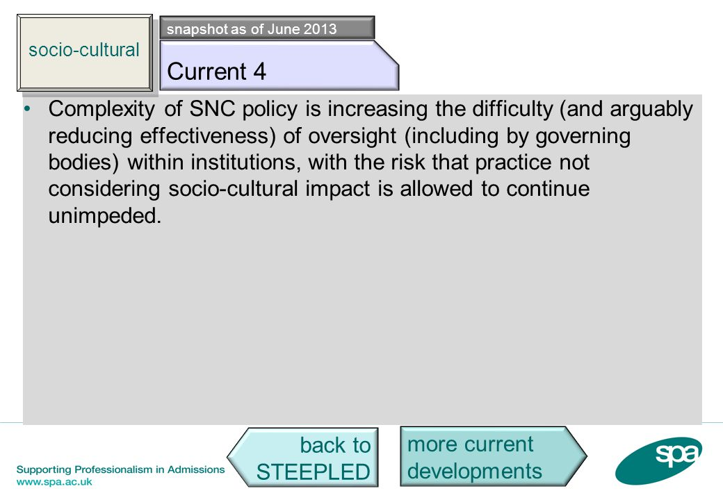 Socio c4 Complexity of SNC policy is increasing the difficulty (and arguably reducing effectiveness) of oversight (including by governing bodies) with