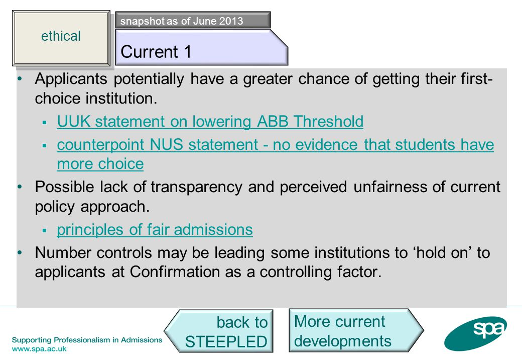 Eth c1 Applicants potentially have a greater chance of getting their first- choice institution. UUK statement on lowering ABB Threshold counterpoint N