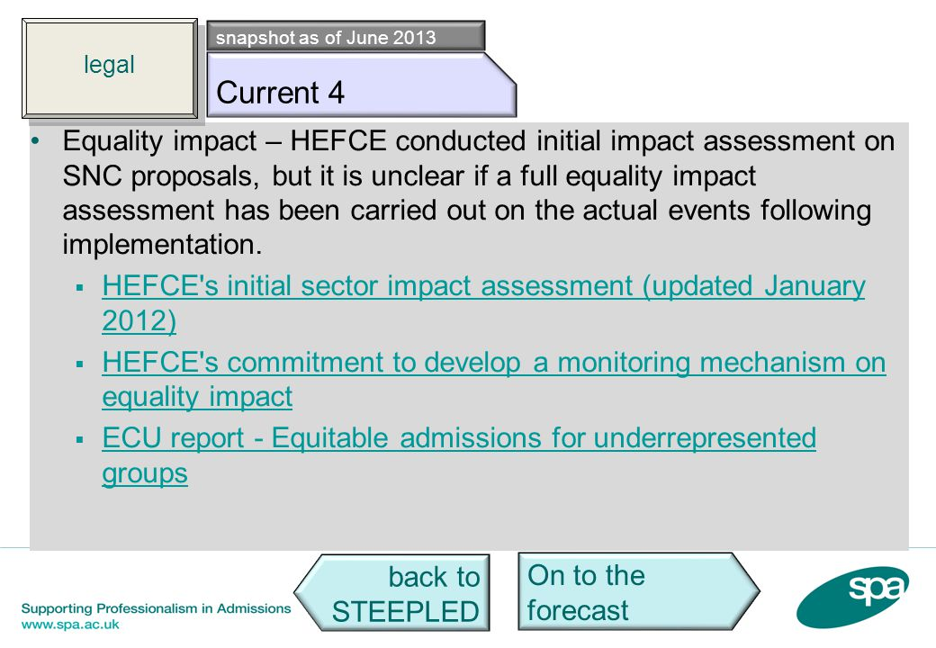 Leg c4 Equality impact – HEFCE conducted initial impact assessment on SNC proposals, but it is unclear if a full equality impact assessment has been c