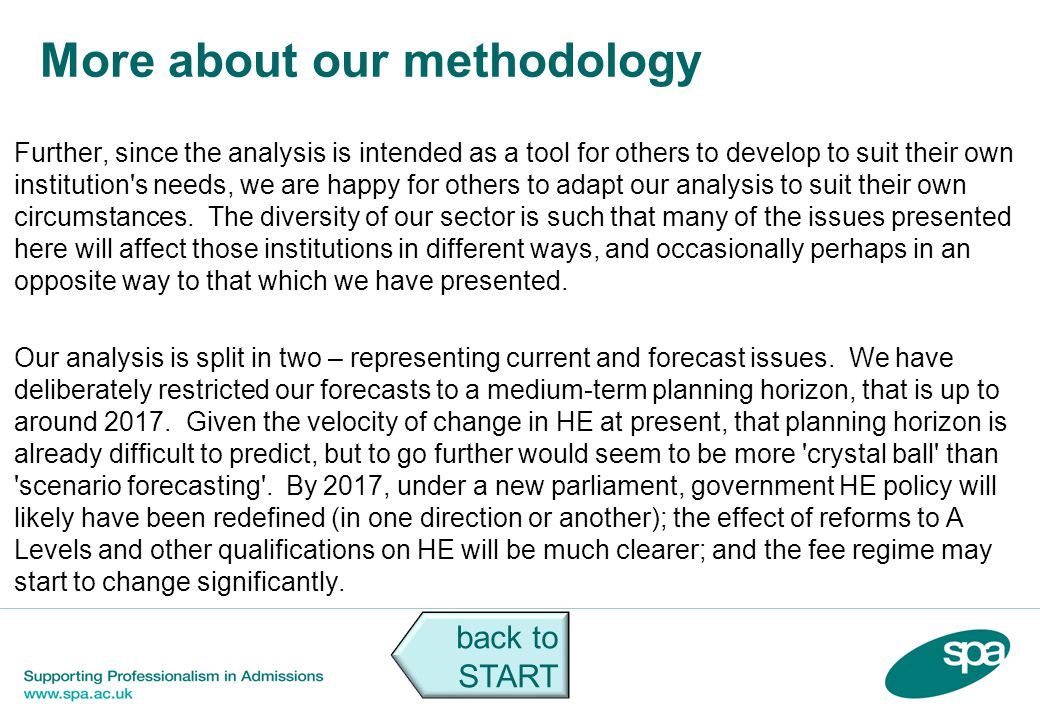More about our methodology Further, since the analysis is intended as a tool for others to develop to suit their own institution's needs, we are happy