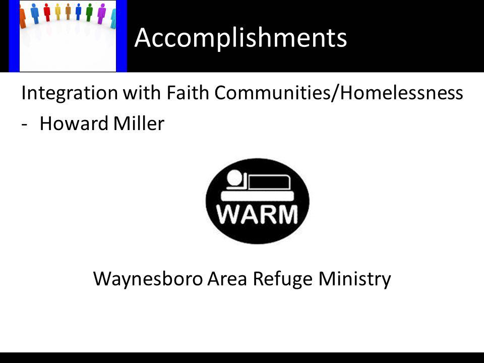 Accomplishments Integration with Faith Communities/Homelessness -Howard Miller Waynesboro Area Refuge Ministry