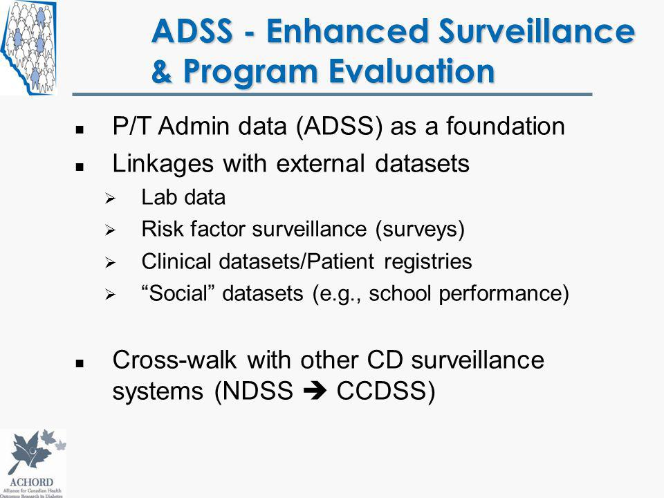 ADSS - Enhanced Surveillance & Program Evaluation P/T Admin data (ADSS) as a foundation Linkages with external datasets Lab data Risk factor surveillance (surveys) Clinical datasets/Patient registries Social datasets (e.g., school performance) Cross-walk with other CD surveillance systems (NDSS CCDSS)