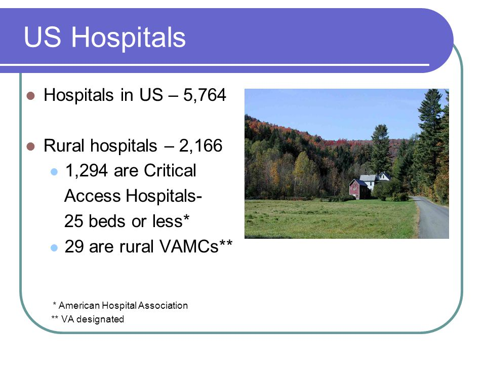 US Hospitals Hospitals in US – 5,764 Rural hospitals – 2,166 1,294 are Critical Access Hospitals- 25 beds or less* 29 are rural VAMCs** * American Hospital Association ** VA designated