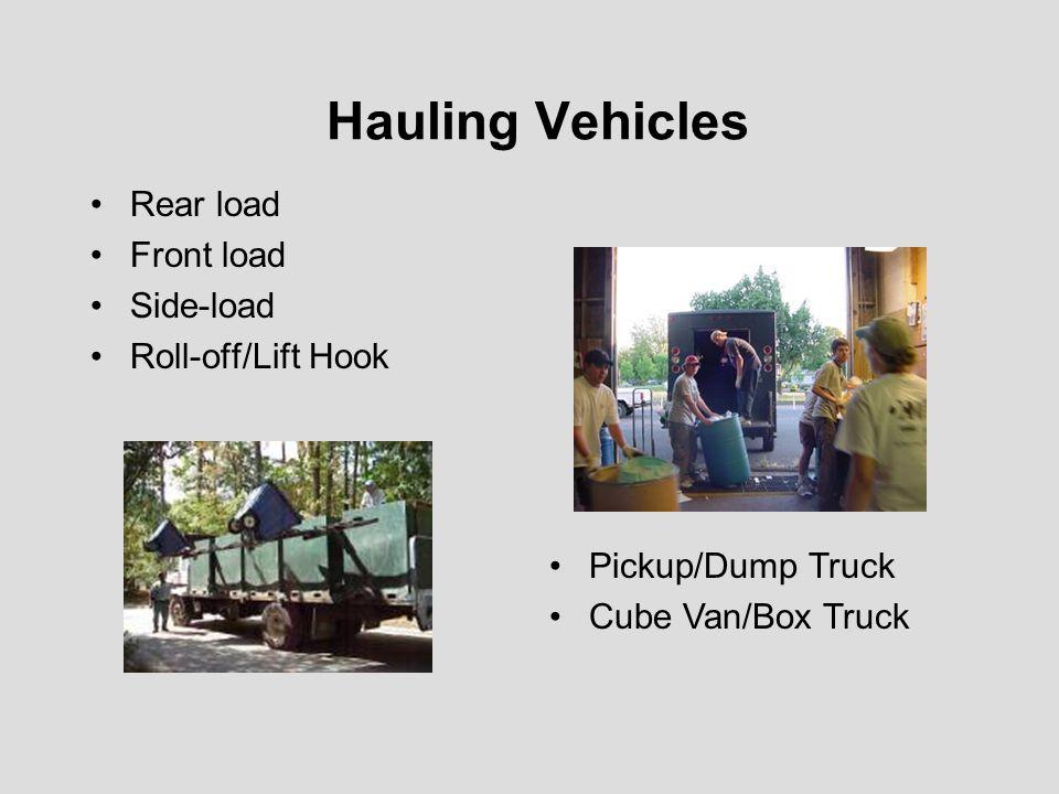 Hauling Vehicles Rear load Front load Side-load Roll-off/Lift Hook Pickup/Dump Truck Cube Van/Box Truck