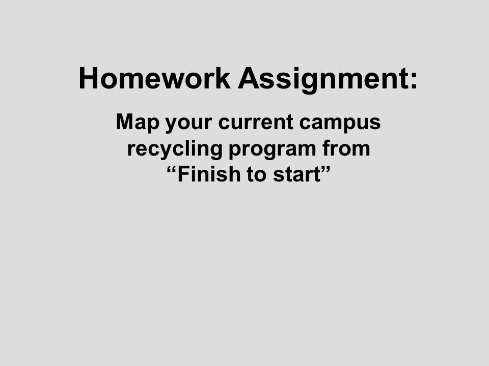 Homework Assignment: Map your current campus recycling program from Finish to start