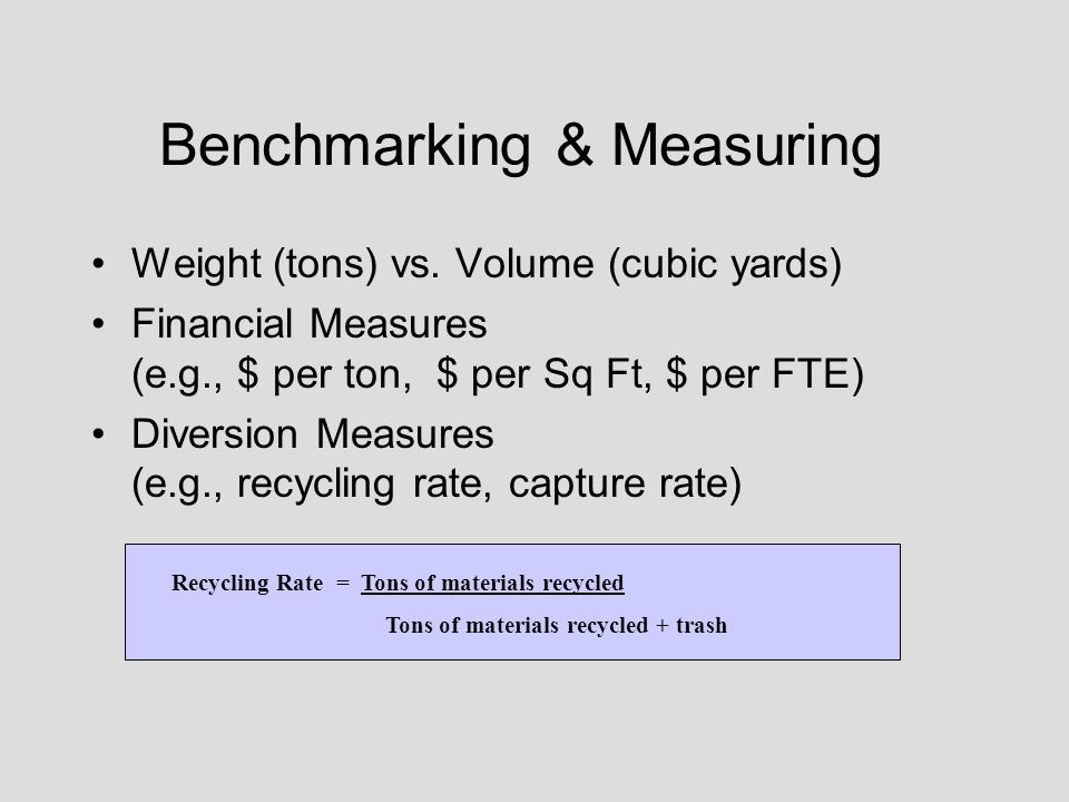 Benchmarking & Measuring Weight (tons) vs. Volume (cubic yards) Financial Measures (e.g., $ per ton, $ per Sq Ft, $ per FTE) Diversion Measures (e.g.,