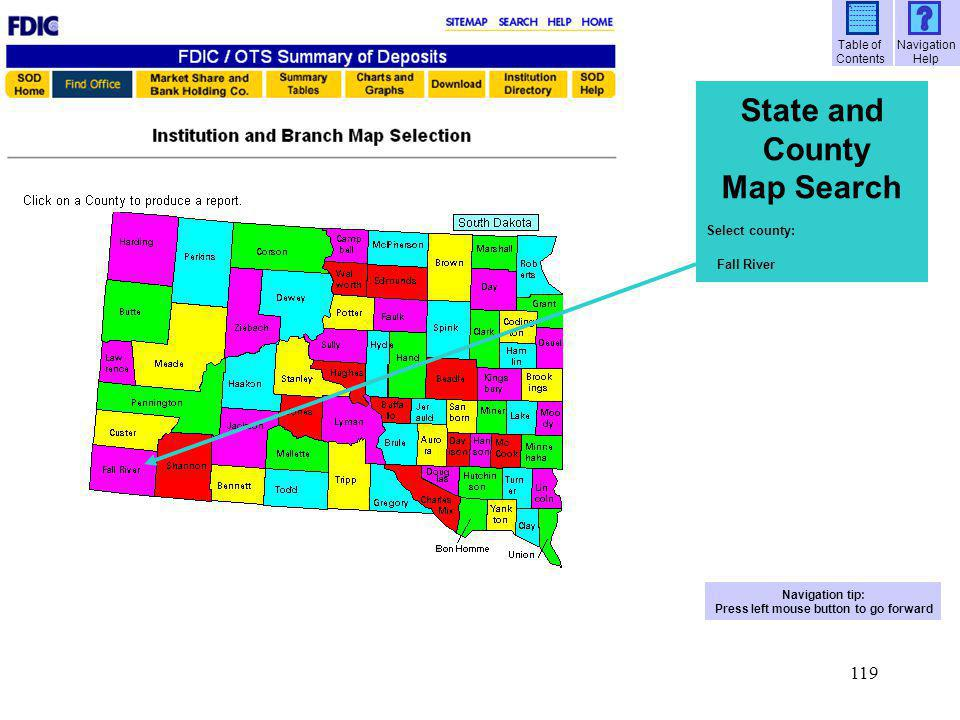120 State and County Map Search List of all institutions and branches in Fall River County, South Dakota Selection criteria Report layout State County Institutions Branch offices Deposits Navigation tip: Press left mouse button to go forward Table of Contents Navigation Help A ------- ----------