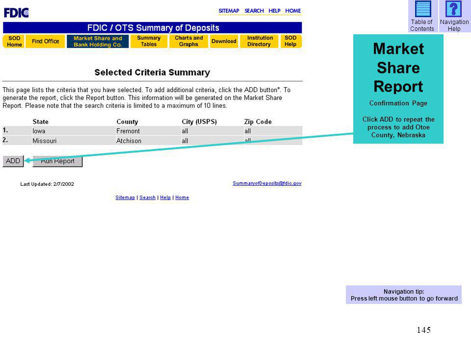 146 Market Share Report Confirm all selections, then click Run Report Confirmation Page Fast Fact.