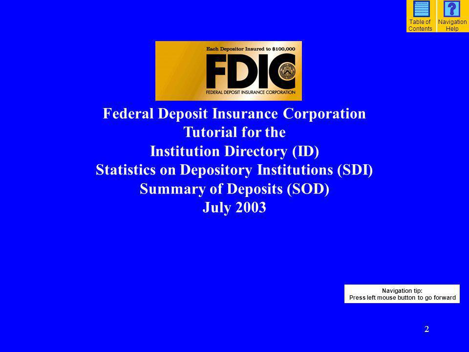 3 Table of Contents: ID/SDI/SOD Tutorial (1) How do I find and list FDIC-insured institutions?….………………………………………………………………..….…………………..